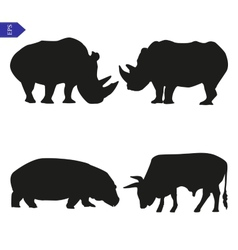 Set of silhouettes of large mammals vector