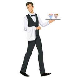 Waiter with ice cream vector