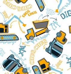 Construction vehicles pattern vector