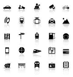 Land transport related with reflect icons on white vector