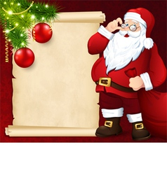 Santa claus with the card vector