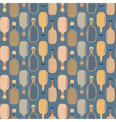 Seamless alcohol bottles pattern on blue vector