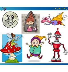 Cartoon fantasy characters set vector