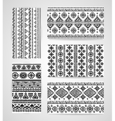Set of business cards with tribal ornaments vector