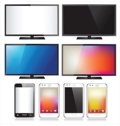 Set of eight realistic mobile phone and tv flat vector