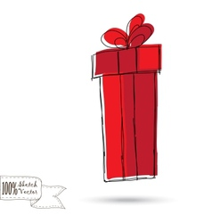 Sketch gift box with bow vector