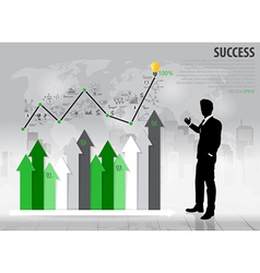 Businessman showing growth chart vector
