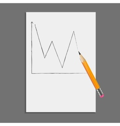Sheet of paper with pencil drawing graph vector