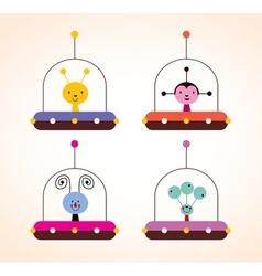 Cute aliens in spaceships kids design elements set vector