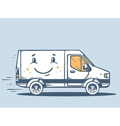 Van free and fast delivering smile to cus vector