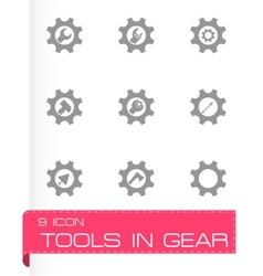 Tools in gear icon set vector