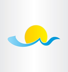 Sun and sea wave summer water icon vector