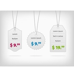 Hanging steel pricing tags with colorful prices vector