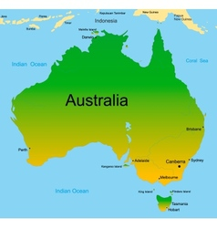 Map of australian continent vector