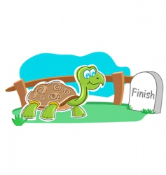 Happy tortoise with finish stone vector