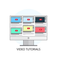 Flat video tutorials study and learning concept vector