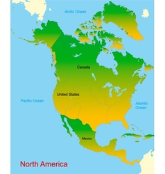Map of north america continent vector