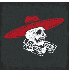 Day of the dead skull with flowers and sombrero vector