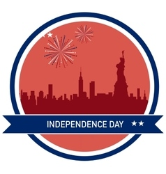 Independence day of america ny city skyline vector