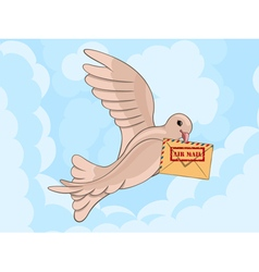 Carrier pigeon with envelop vector