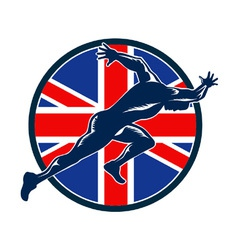 Runner sprinter start british flag circle vector