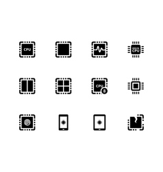 Cpu icons set central processing unit vector