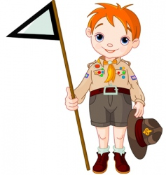 Boy scout holding a flag vector