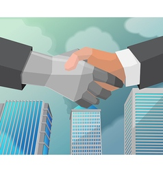 Shake hand business partner city vector