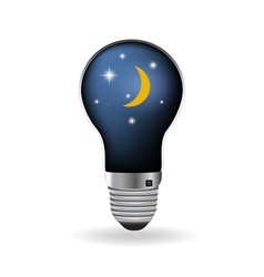 The light bulb with moon and night sky vector