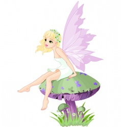 Fairy on the mushroom vector