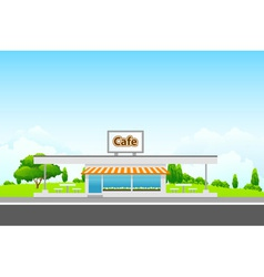Green landscape with cafe vector