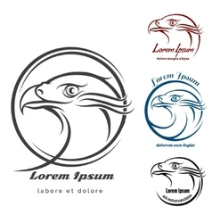 Eagle head logo set vector