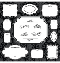 Damask frame set vector