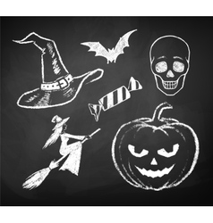 Halloween chalked collection vector