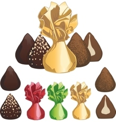 Truffle chocolate candies vector