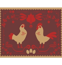 Hen and rooster vector