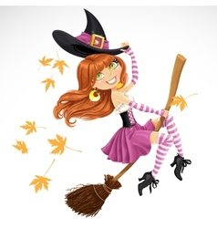Beautiful witch flying on a broomstick vector