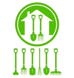 Garden green icon with tools vector