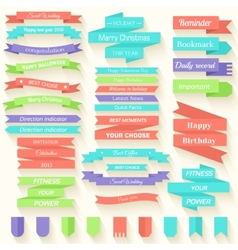 Set of colored ribbons sticker background concept vector