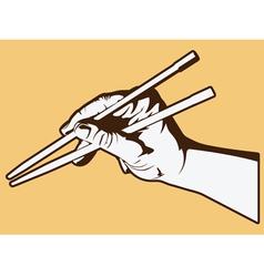 Hand holding chopsticks vector