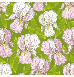 Seamless pattern with iris vector