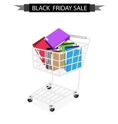 Office folder in black friday shopping cart vector