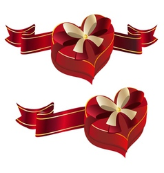 Heart shaped box with ribbon vector