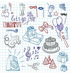 Colored set of sketch party objects hand-drawn vector