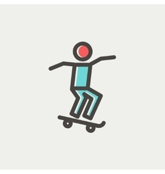 Man skateboarding thin line icon vector
