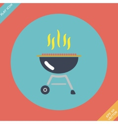 Barbecue grill icon -  flat vector