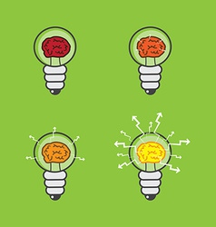 Lightbulb with brain vector