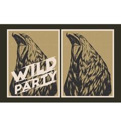 Wild party invitation template vector