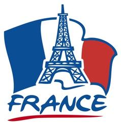 Paris eiffel tower design and france flag vector