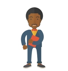 Black man holding red notebook vector